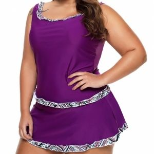 Other - Plus Size Purple Active Tank Top & Skirt Swimsuit